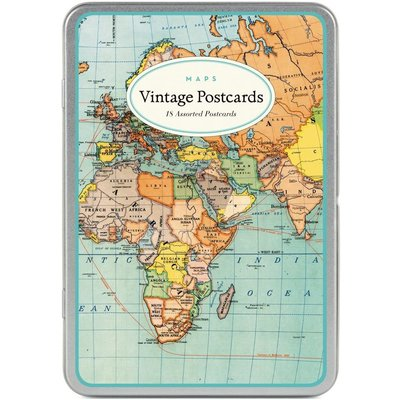 Vintage World Maps Postcards