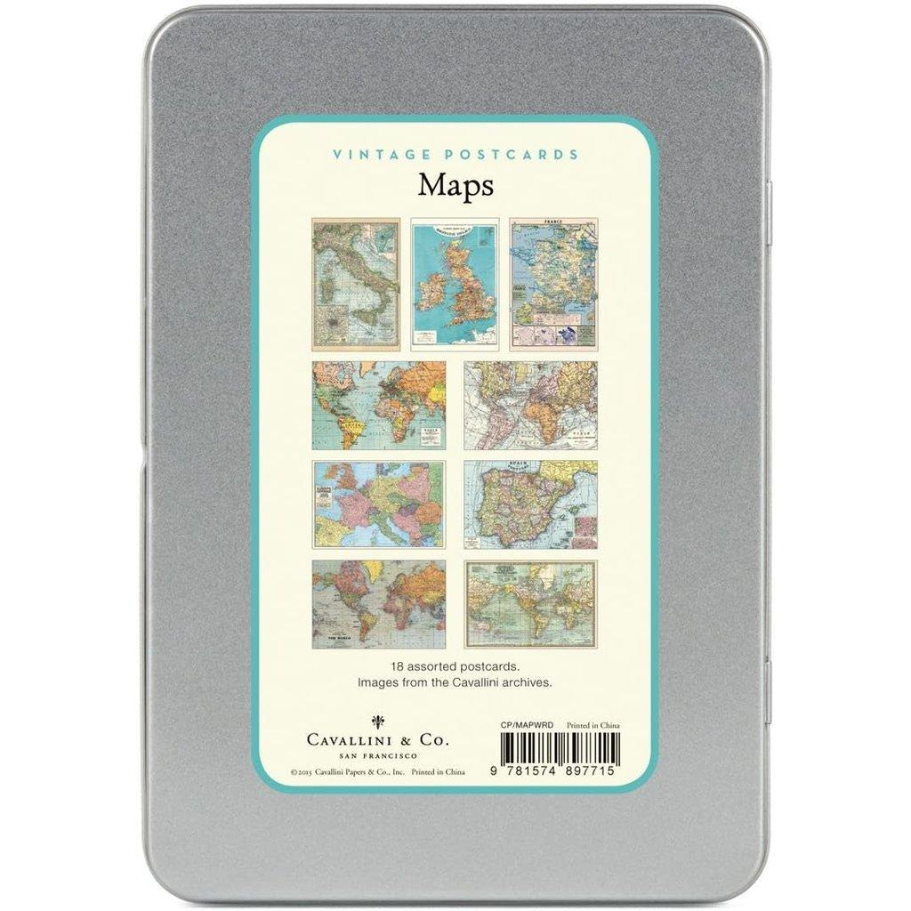 Vintage World Maps Postcards