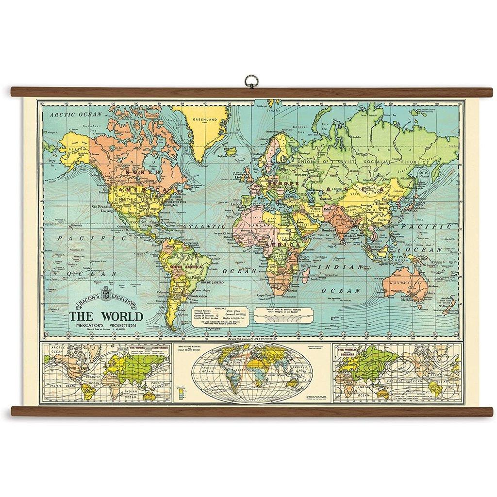 Vintage School Chart World Map