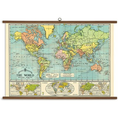 Vintage School Chart World Map