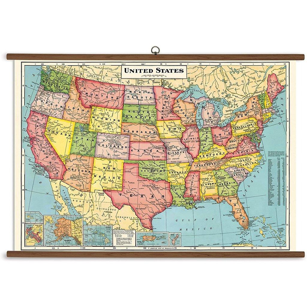 Vintage School Chart United States Map