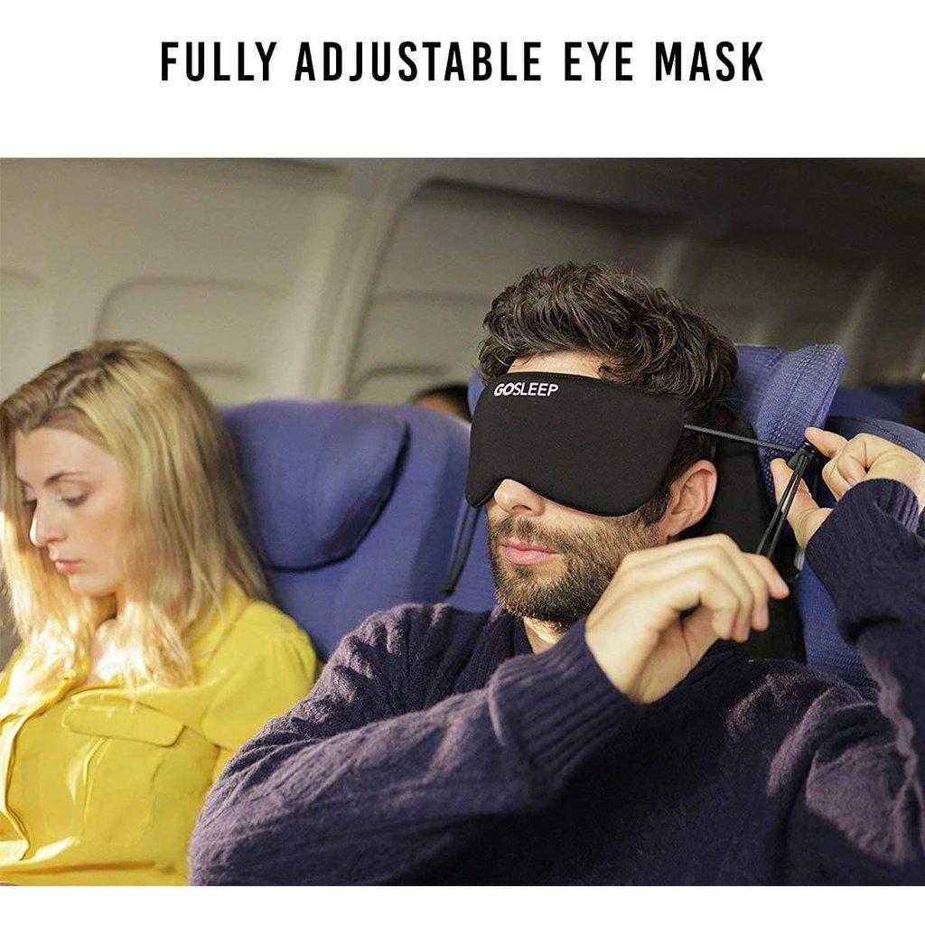 GOSLEEP 2 in 1 Travel Sleep Mask with Memory Foam Pillow-Navy