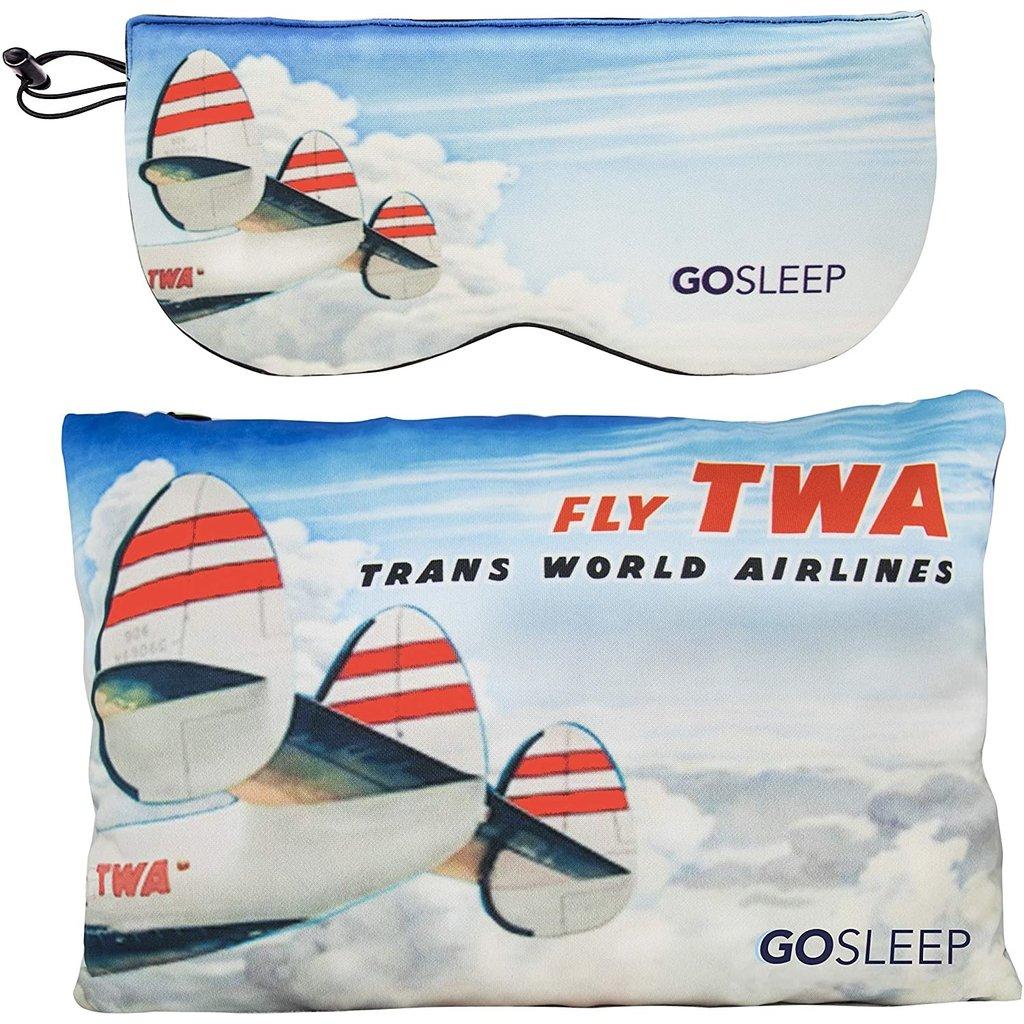GOSLEEP 2 in 1 Travel Sleep Mask with Memory Foam Pillow-Fly TWA