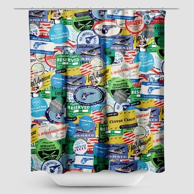 Pan Am Stickers Shower Curtain