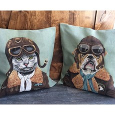 Tapestry Cushion Cover Top Gun Bull Dog