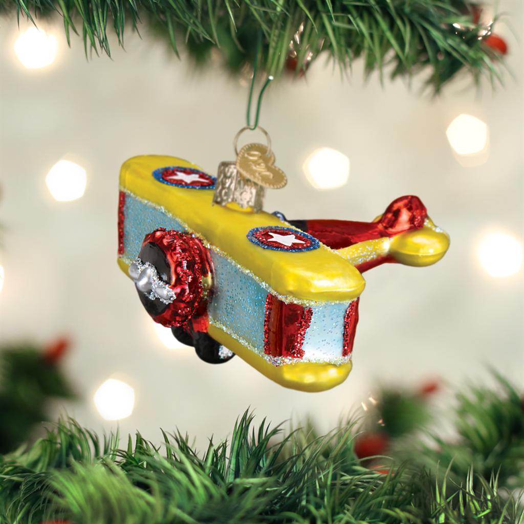 Old World Christmas Biplane Ornament
