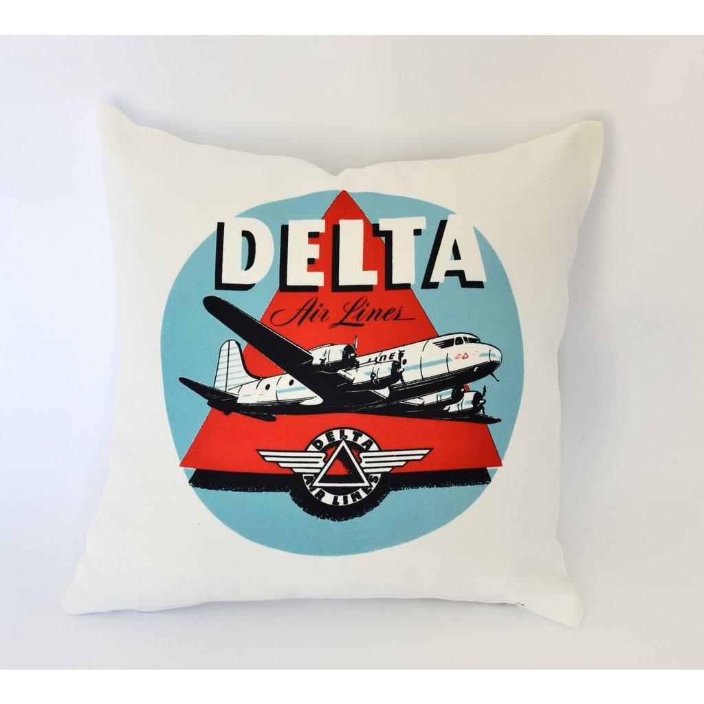 Delta  1950's Vintage Sticker Linen Pillow Cover