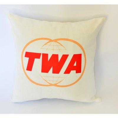 TWA Gold Globe Logo Linen Pillow Cover