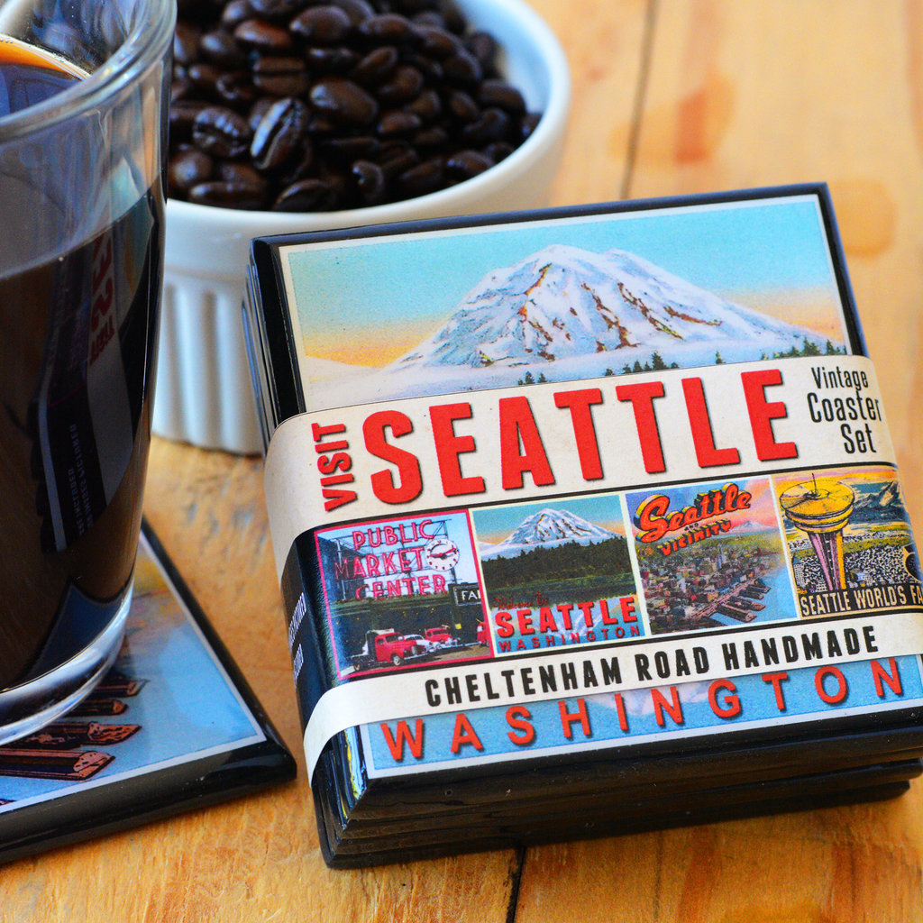 Visit Seattle Vintage Coaster Set