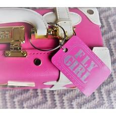 Fly Girl Bag Tag Key Chain-Pink