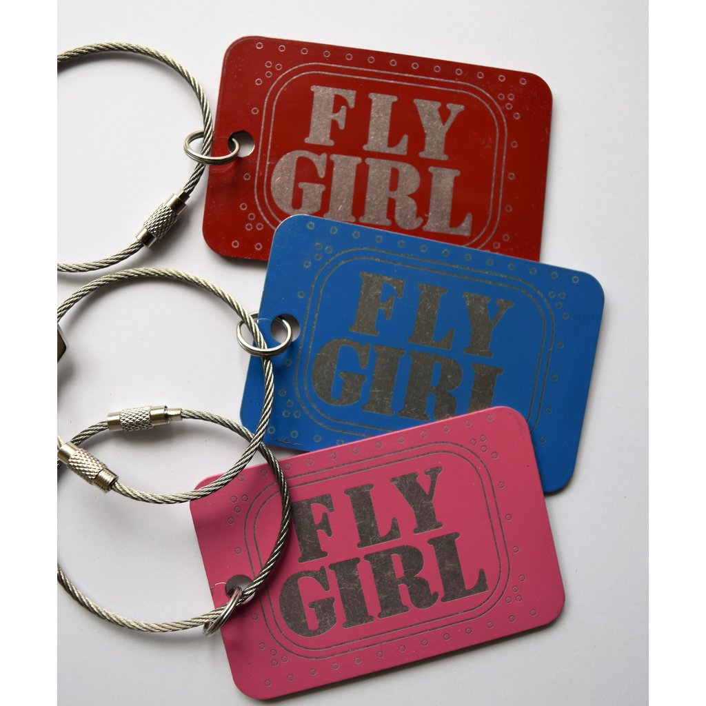 Fly Girl Bag Tag Key Chain-Pink