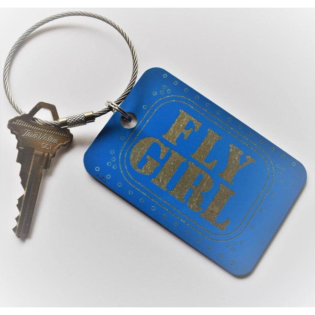 Fly Girl Bag Tag Key Chain-Blue