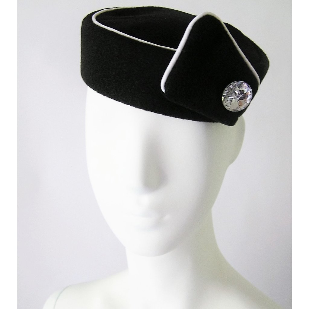 Elite Pill Box Stewardess Hat  Size M Black