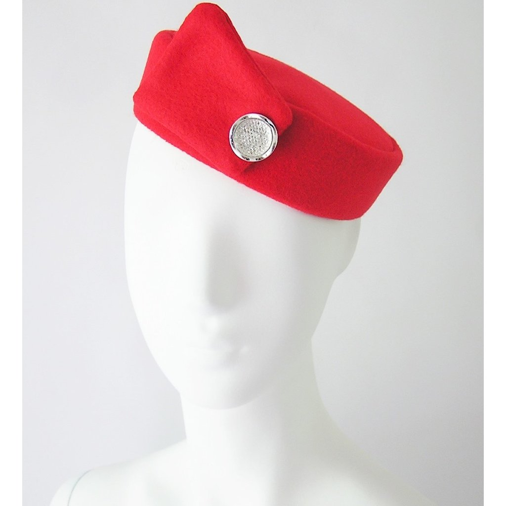 Flight Attendant Pill Box Hat: Size M Red