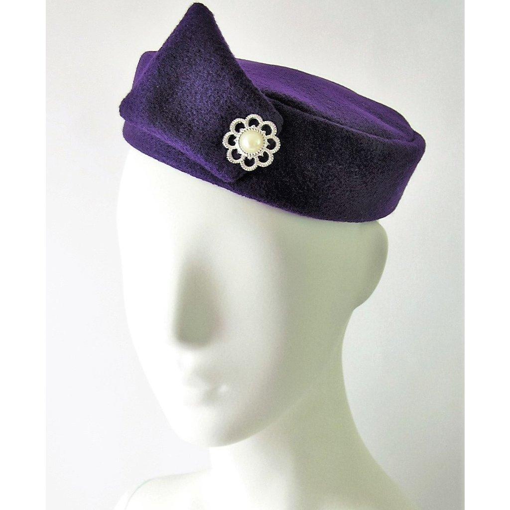 Flight Attendant Pill Box Hat: Size M Purple