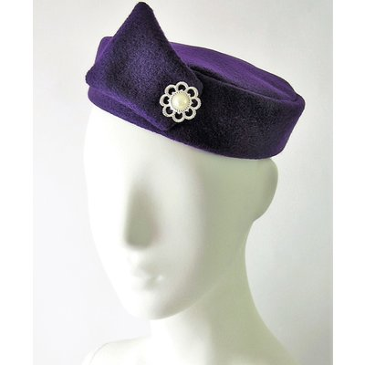 Flight Attendant Pill Box Hat: Size M Purple
