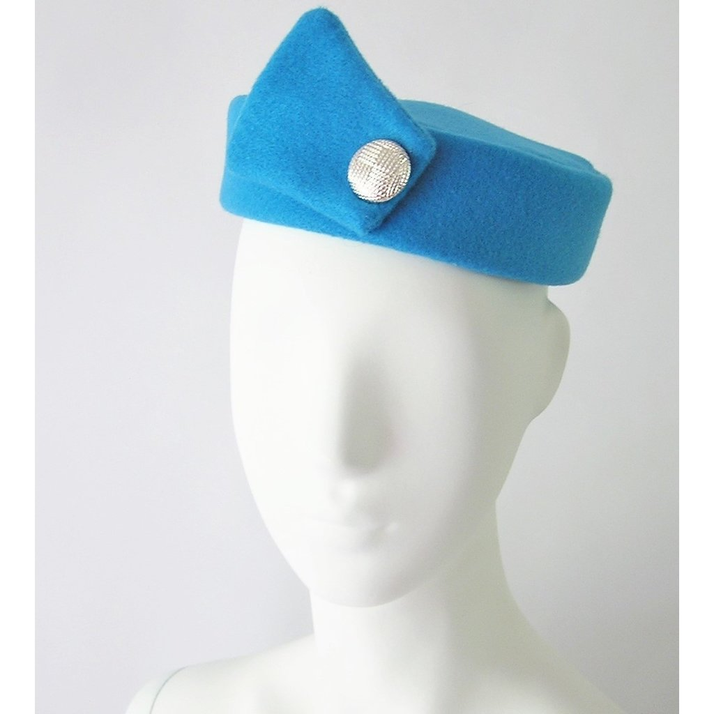 Flight Attendant Pill Box Hat: Size M Crystal Blue