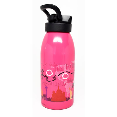 Kids  Around The World Water Bottle Pink