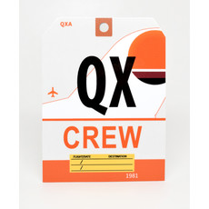 QX CREW Baggage Tag Die-Cut Sticker