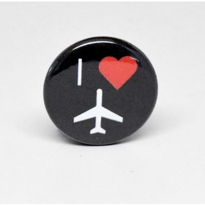 Pinback Button I heart Plane - Black