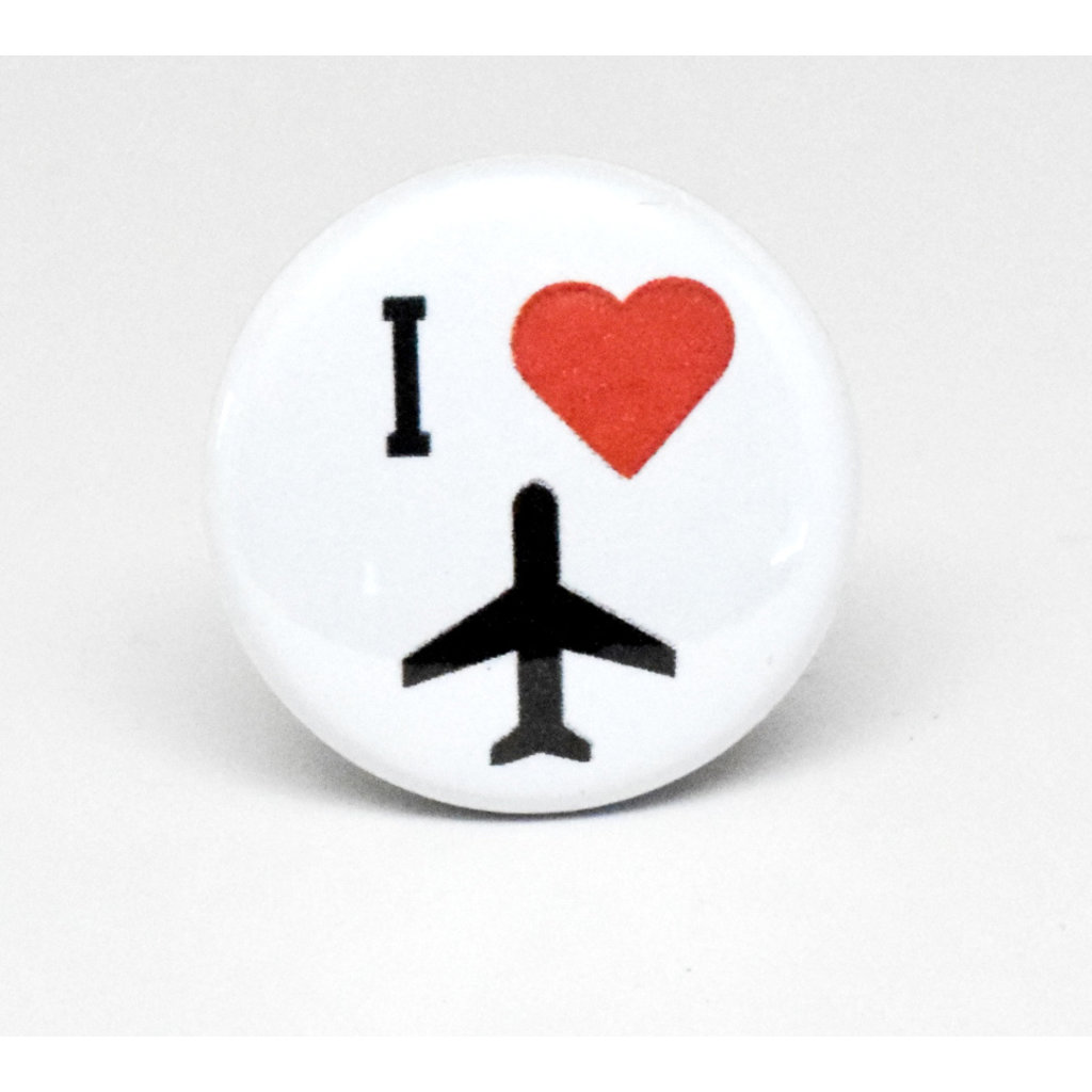 Pinback Button I heart Plane - White