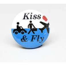 Pinback Button Kiss and Fly