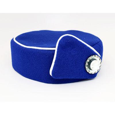 Elite Pill Box Stewardess Hat  Size M Royal Blue