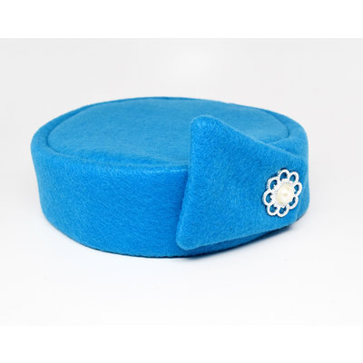 Flight Attendant Pill Box Hat: Size M Turquoise
