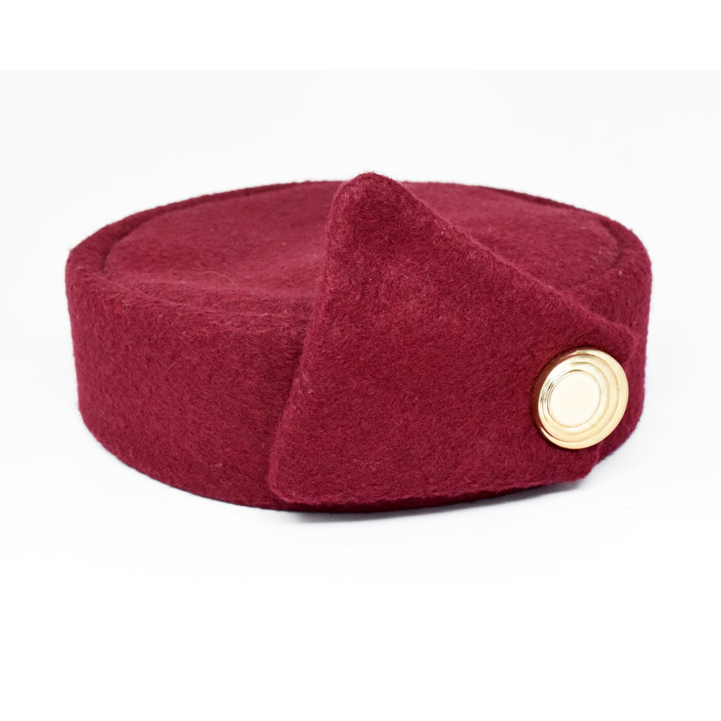 Flight Attendant Pill Box: Wool Blend Med. Burgundy