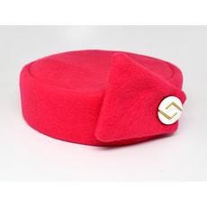 Flight Attendant Pill Box Hat: Size M Bright Pink