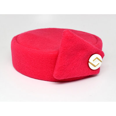 Flight Attendant Pill Box Hat: Size M Bright Pink