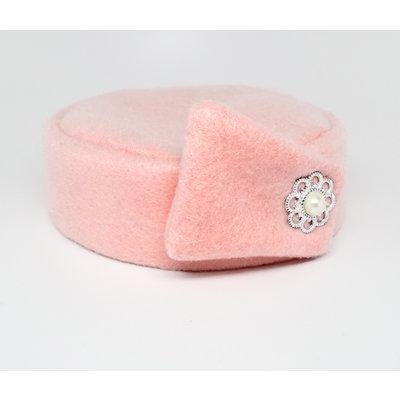 Flight Attendant Pill Box Hat: Size M Light Pink