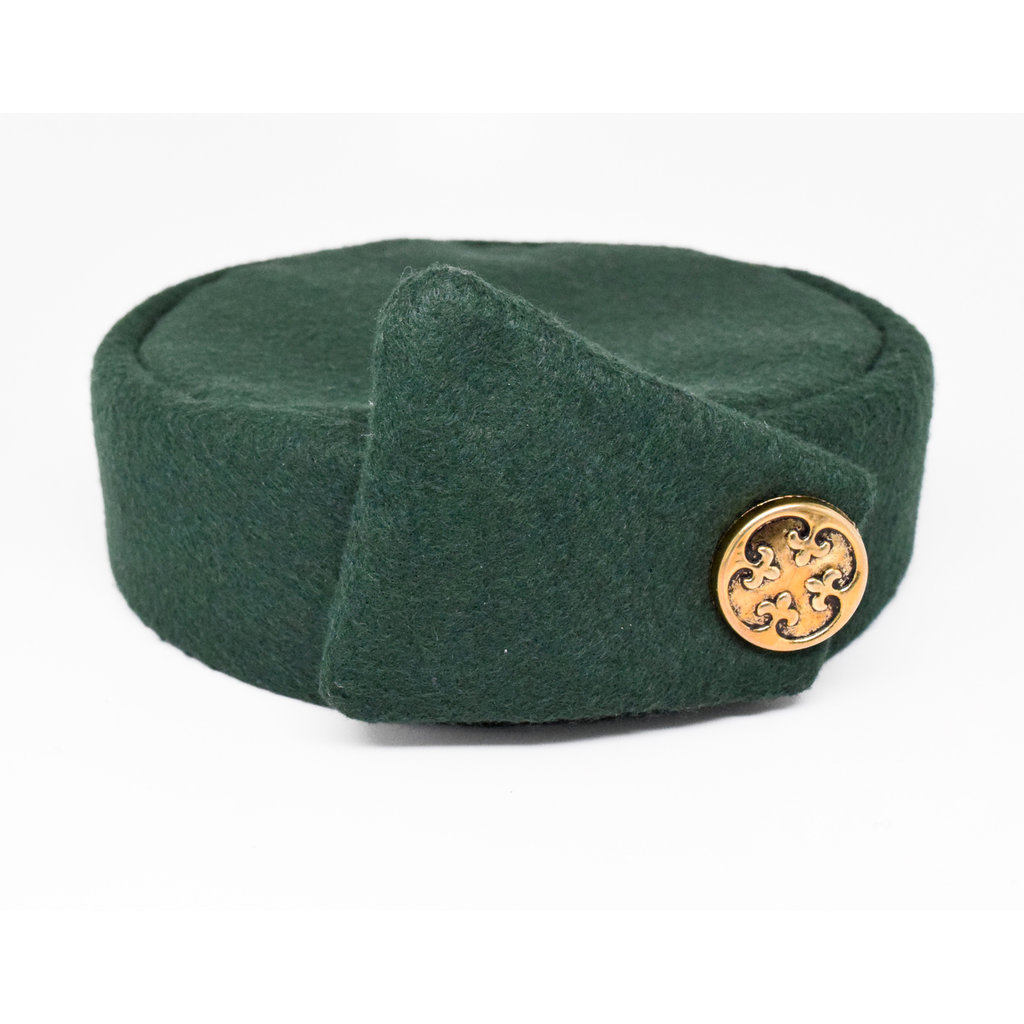 Flight Attendant Pill Box Hat: Size M Wool Blend Forest Green
