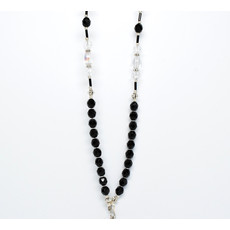 Black faceted and crystal beaded ID Badge Lanyard