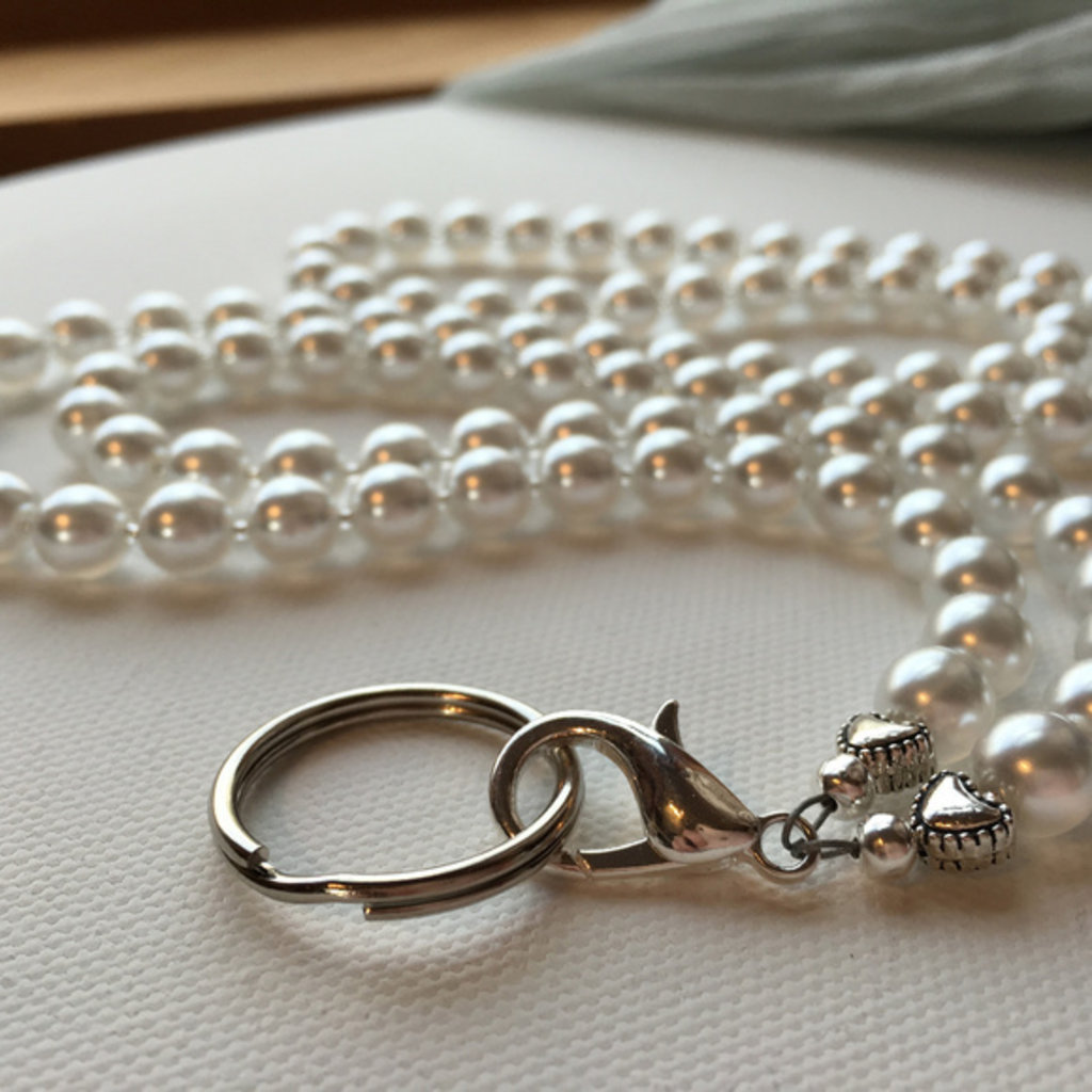 White Glass Pearl ID Badge Lanyard