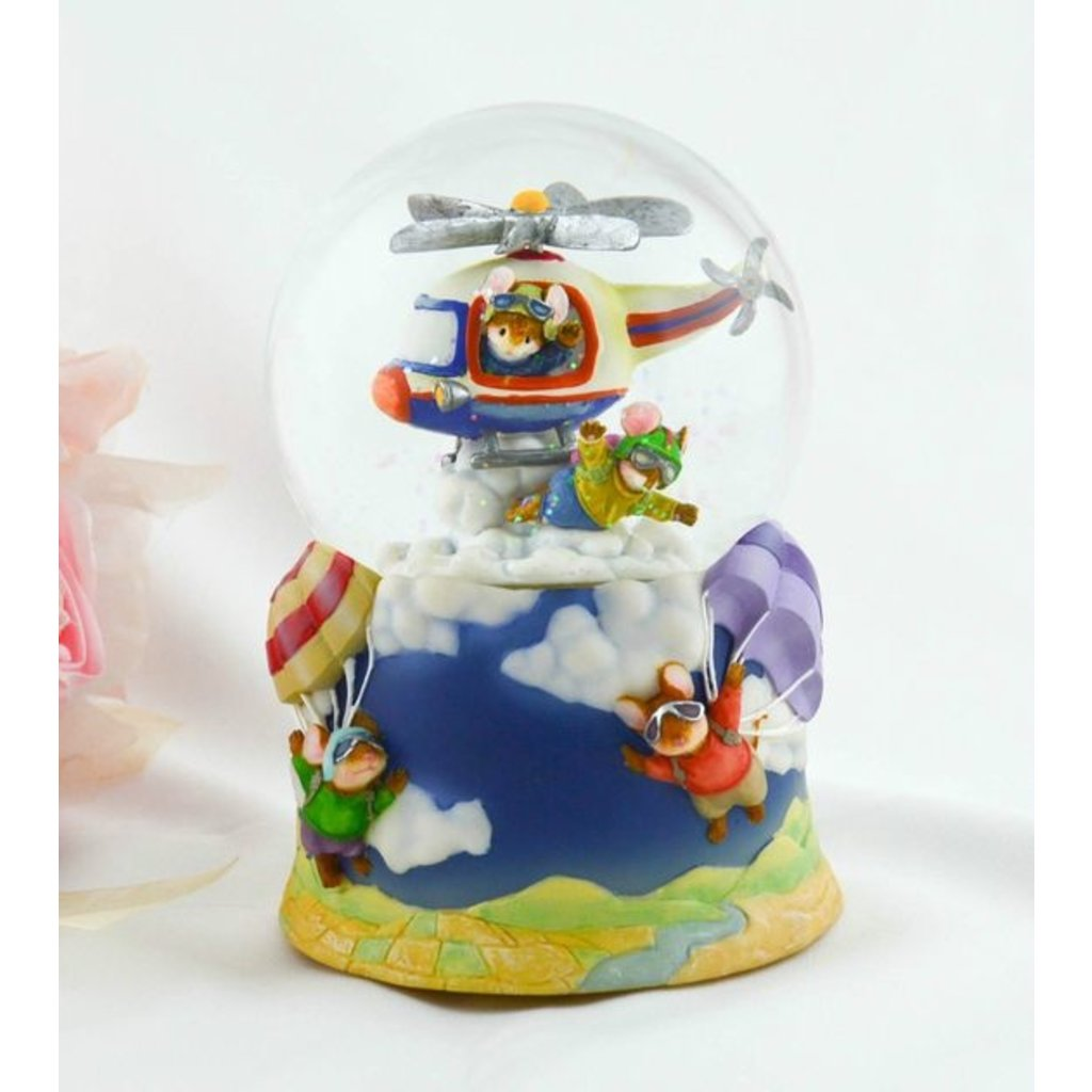 Musical Water Globe Helicopter w/ Skydiving mice