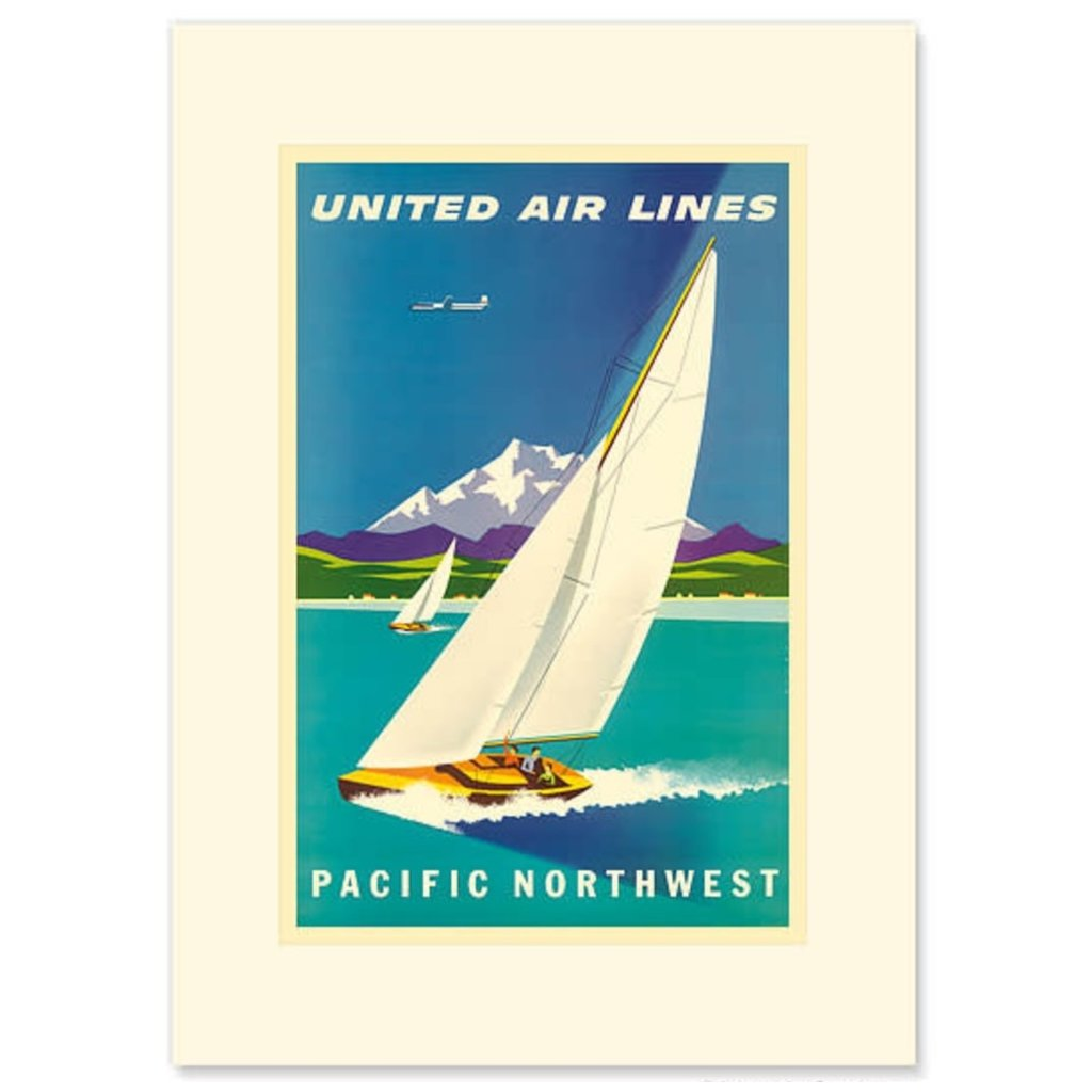 United Airlines Pacific Northwest Sailboat Greeting Card