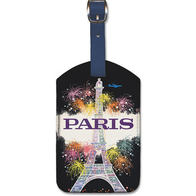Luggage Tag TWA Eiffel Tower Fireworks Paris
