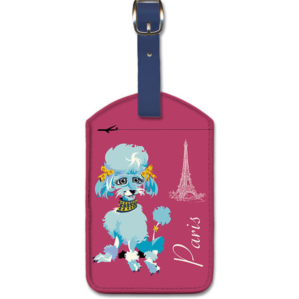 Luggage Tag Blue poodle & Eiffel Tower Paris