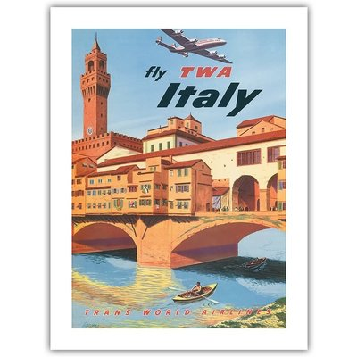 Fly TWA Florence Bridge Print 12 x 18