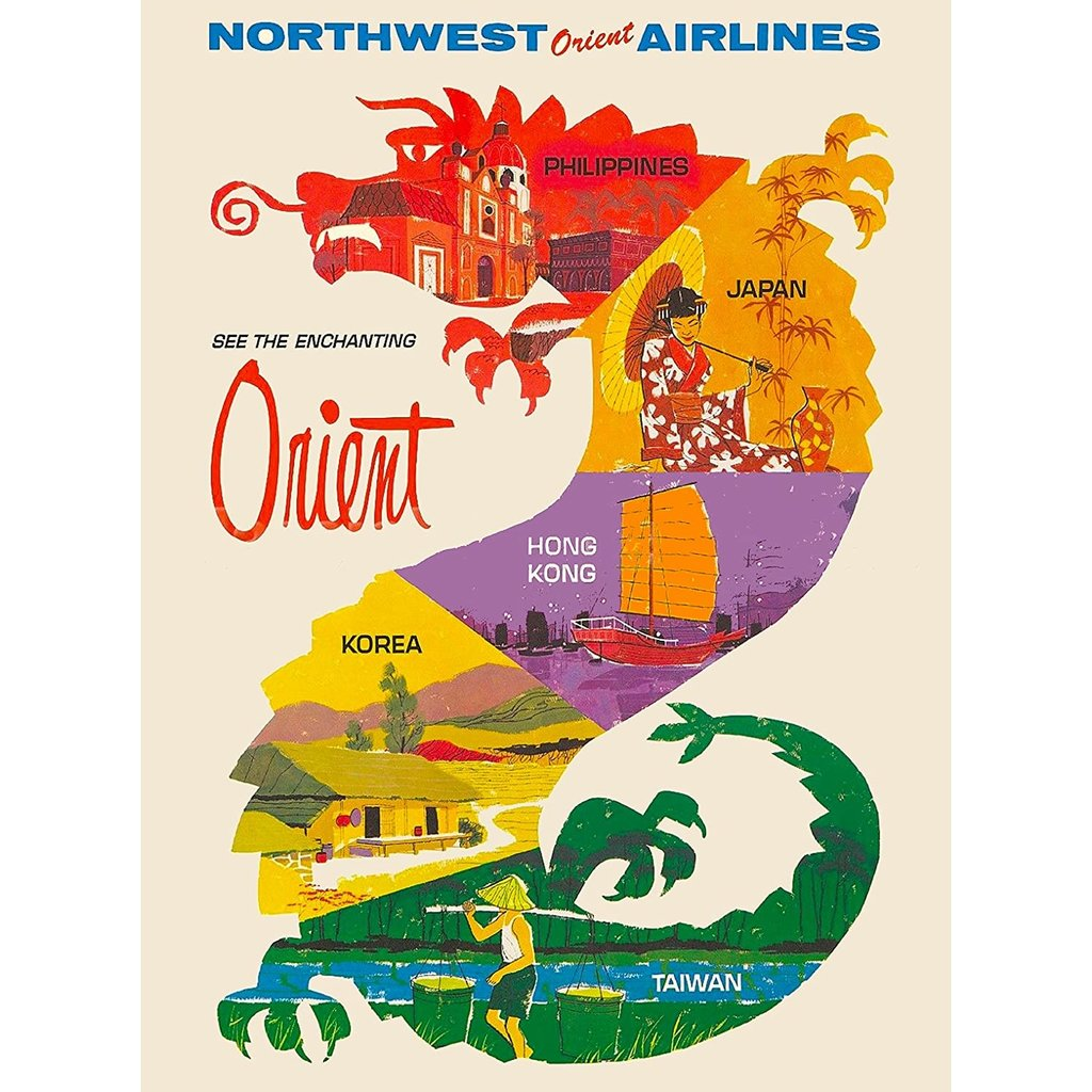 See the Orient - Northwest Orient Airlines - Print 9 x 12