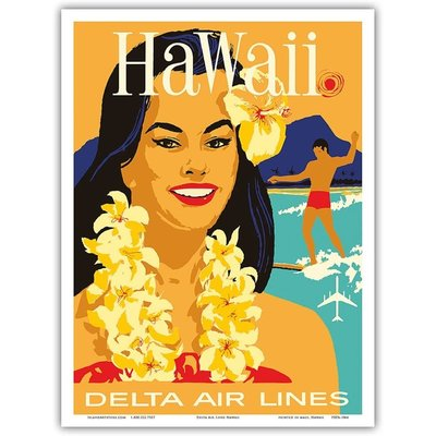 Delta Air Lines Hawaii - Woman w/Lei  Print 9 x 12