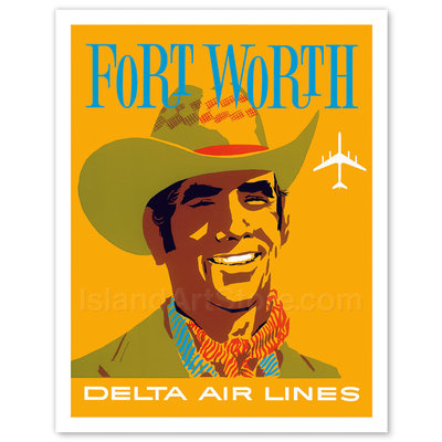 Delta Air Lines Fort Worth, Texas - Cowboy Print 9 x 12