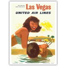United Airlines Las Vegas - Poolside Girl Print 9 x 12