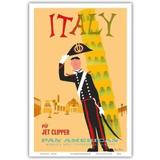 Pan Am Italy via Jet Clipper  Print 9 x 12