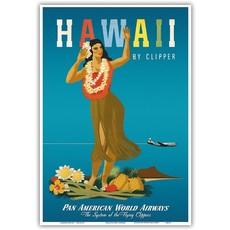 Hawaii By Clipper, PAA, Hula Girl Print 9 x 12