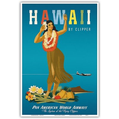 Hawaii By Clipper, PAA, Hula Girl Print 9 x 12