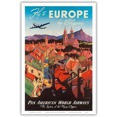 Pan American: Fly to Europe by Clipper Print 9 x 12