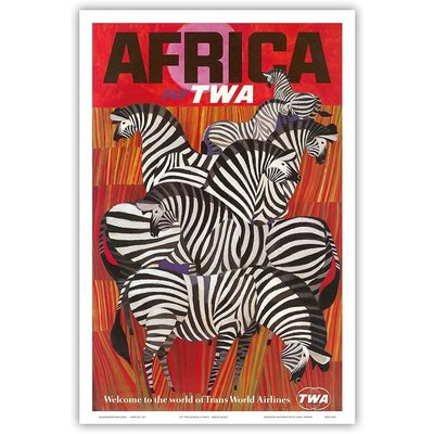 Fly TWA Zebras Africa Print 12 x 18