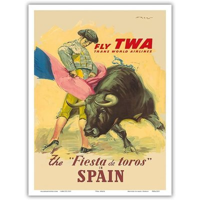 Fly TWA Fiesta de Toros Spain Print 12 x 18